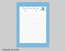 Thank You Cards For Baby Shower Gifts - owl baby shower gift list printable gift record sheet for