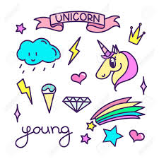 unicorn rainbow trendy sticker pack with magical unicorn rainbow shooting star