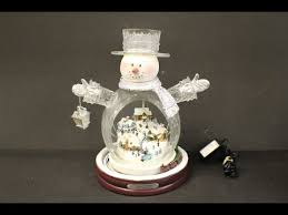 kinkade white snowman w light up town