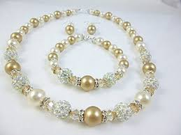 pearl necklace wedding jewelry images Champagne wedding jewelry set pearl necklace set jpg