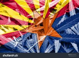 Az State Flag Arizona State Flag On Cannabis Background Stock Illustration