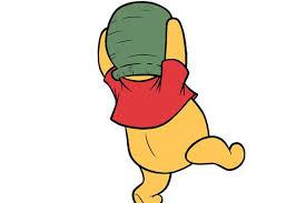 winnie pooh bear milk churn stuck head