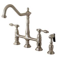 solid brass kitchen faucet kingston brass 2 handle bridge kitchen faucet with side