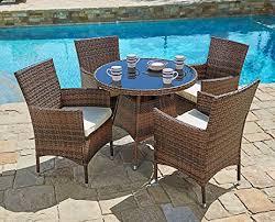 Patio Furniture Round Amazon Com Suncrown Outdoor Furniture All Weather Wicker Round