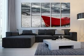 Large Artwork For Living Room 5 Piece Huge Canvas Art Black And White Large Pictures Red Boat