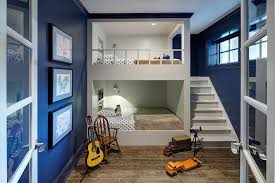 Bunk Bed For Boys White And Navy Bunk Room With Built In Staircase Contemporary