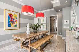 Dining Room Accents Wall Stripes Horizontal With Contemporary Dining Room Plus Gray