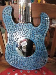 funky stuff handmade shimmering blue tiled mosaic guitar wall