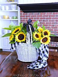 Sunflower Centerpiece Vintage Picnic Basket Centerpiece Redhead Can Decorate