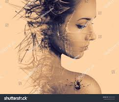 double exposure portrait young woman spider stock photo 326541575