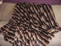 Faux Fur Blanket Queen Brown And Tan Channeled Mink Fake Faux Fur Blanket Throw Comforter