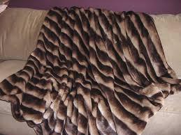 Faux Fur King Size Blanket Channeled Mink Throw Blanket Comforter Bedspread Shams Pink Blue