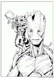 coloring page rocket and groot
