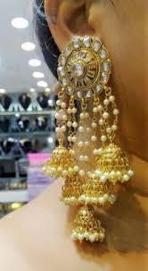 bridal jhumka earrings indian ethnic gold plated whitepearl moti
