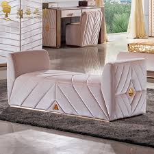 Gold Fabric Sofa Bedroom Modern Furniture Bed End Chair Ottoman Fabric Sofa Chaise