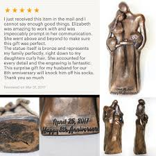 8th anniversary gifts for 8th anniversary family portrait bronze anniversary gift gift for