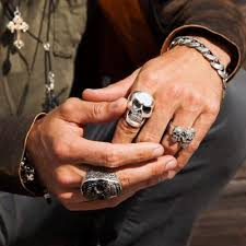 baby king rings images Jet baroque skull black and silver king baby mens ring jpg