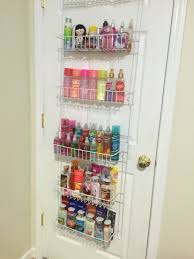use an over the door spice rack organizer in the bedroom to