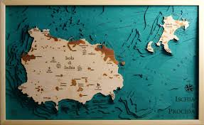 Ischia Italy Map by Ischia U0026 Procida Map Laser Cut 100 Made In Italy
