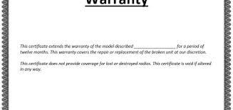 certificate templates u2013 printable sampleswarranty certificate