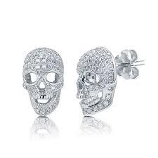 skull stud earrings sterling silver cubic zirconia cz skull bones fashion stud
