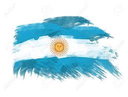 argentina flag in brush strokes in background stock photo