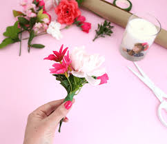 faux flowers diy gift toppers lines across