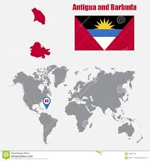 Antigua Map Antigua And Barbuda Map On A World Map With Flag And Map Pointer