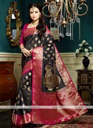 rani pink colour black and pink colour silk zari woven saree vivaah mt1248 blackxrani