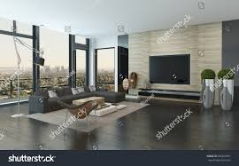 spacious modern living room dark grey stock illustration 365609051 spacious modern living room with dark grey and white decor overlooking the city through panoramic floor