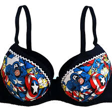 Marvel Super Heroes Clothing Captain America Push Up Bra Super Heroes Patched Push Up Bra