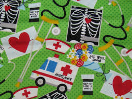 get well flannel fabric medical theme xray by fabricfrantic