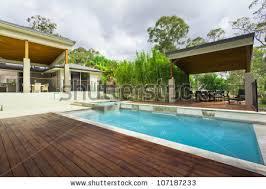 Modern Backyard Luxurious Backyard Pool Modern Australian Mansion Stock Photo