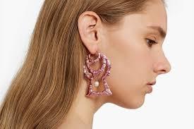rihanna earrings shop chrishabana s pink foil bamboo earrings hypebae