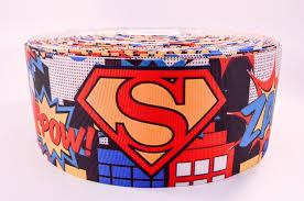 3 wide superman printed on grosgrain cheer bow ribbon iowa