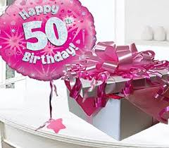 50th birthday flowers and balloons happy 50th birthday balloon in a box pink code jgf50h50bb 50