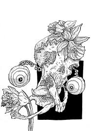 black and white pen drawing paul jon milne illustrator