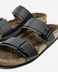 leather sandals with faux fur shoes accessories sale man