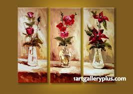 3 piece multi panel art floral wall decor red flowers canvas