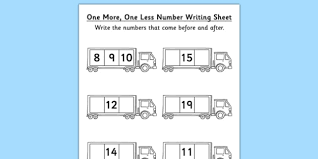 one more one less number writing activity sheet lorry lorry
