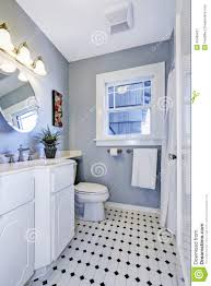 bright bathroom interior in light blue color stock photo image