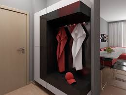 design studio apartment home interior modern with red eas from