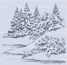 vector sketch winter forest landscape with frozen river stock