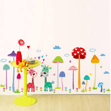 nursery wall stickers animals promotion shop for promotional baby kids wall stickers nursery kindergarten decor little animals wall decals art deer mushroom forest wall poster room decor