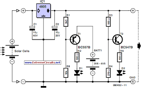how to build solar cell voltage regulator circuit diagram