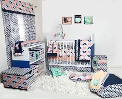 Unisex Crib Bedding Sets Bacati Liam Aztec Coral Mint Navy 10 Pc Crib Set Including