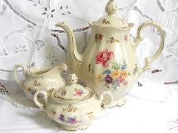 vintage tea set tea set porcelain tea set coffee set pink floral tea set german