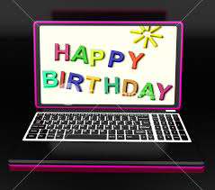 happy birthday on laptop shows greetings or celebration