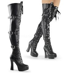 s thigh boots uk pleaser electra 3028 black stretch matte chunky high heel platform
