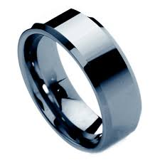 non metal wedding bands 8mm unisex or s tungsten ring w beveled edge silver tone